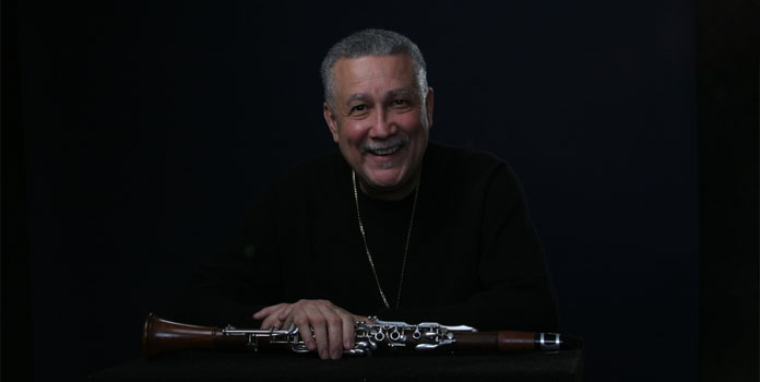 Paquito D'Rivera with his iconic and beloved oxblood-coloured Luis Rossi clarinet