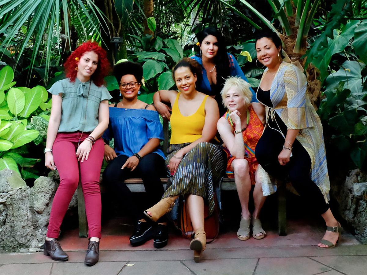 L to R: Tailin Marrero Zamora, Yissy García, Joanna Tendai Majoko, Mary Paz Fernández, Jane Bunnett, Dánae Olano. Photograph by Lauren Deutsch