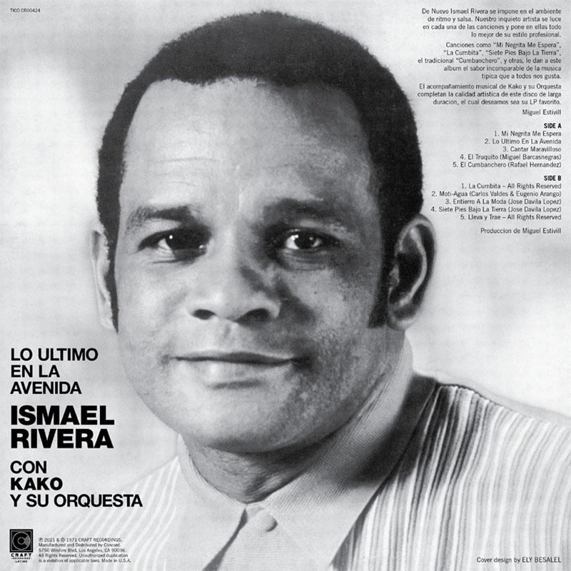 Back album cover: Lo Último En La Avenida - Ismael Rivera con Kako y su Orquesta